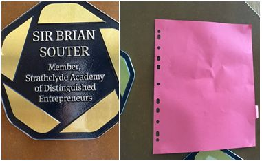 Image on left shows Brian Souter's plaque. Image on right shows the plaque covered up.