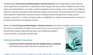Call for proposals: Social Theory and Methodology in Education Research (Flyer attached - Bloomsbury Press)