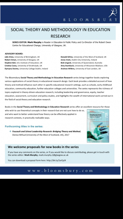 Call for proposals: Social Theory and Methodology in Education Research (Flyer attached – Bloomsbury Press)